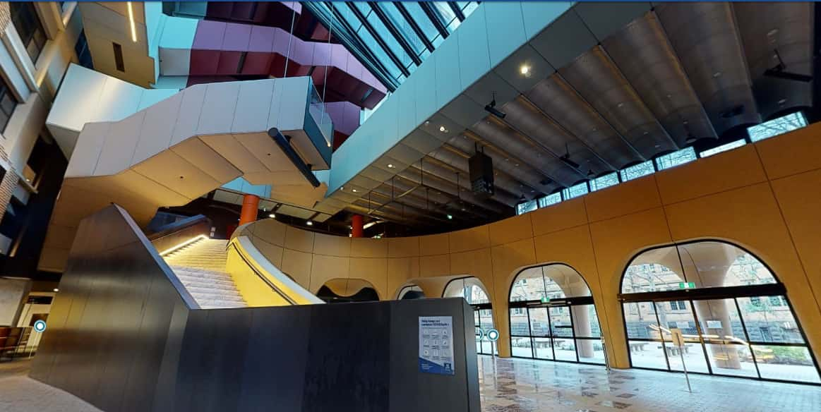The inside of the Arts West Building