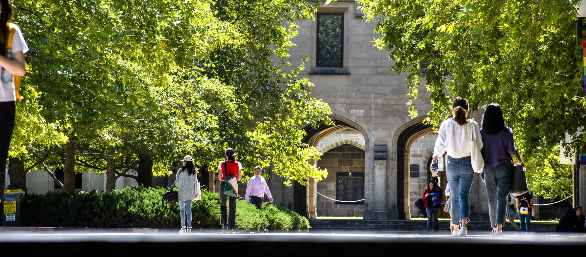Students walking along the footpath at South Lawn viewed from the staircase